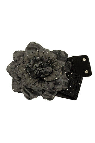 Crystal Floral Accent Belt-Front View | SM Dance Fashion