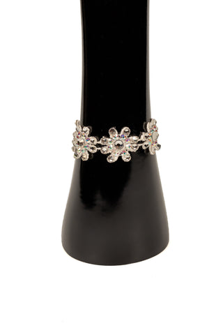 White Daisies Hinged Clip Bracelet-Front View | SM Dance Fashion
