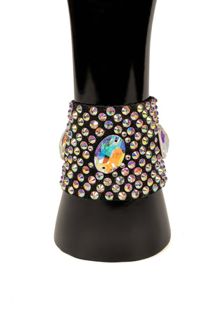 Velcro Quintuple Oval Rhinestone Bracelet-Front View | SM Dance Fashion
