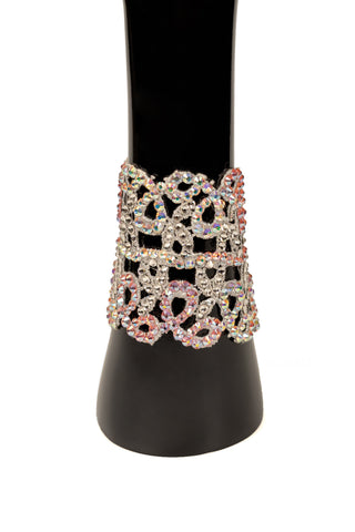 White & Pink Cuffed Swirl Bracelet-Front View | SM Dance Fashion