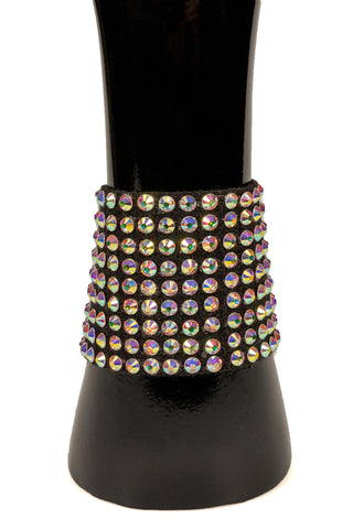 Black Crystal Wide Velcro Bracelet-Front View | SM Dance Fashion