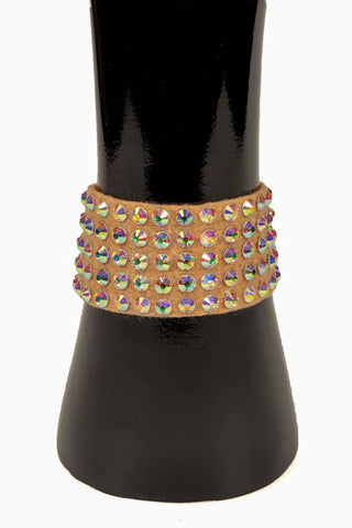 Beige Crystal AB Velcro Bracelet-Front View | SM Dance Fashion