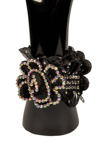 Velcro Laced Dual Flower Bracelet-Front View | SM Dance Fashion