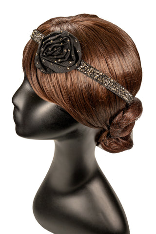 Rhinestone Skinny Strip Rose Hair Piece-Front Angled View | SM Dance Fashion