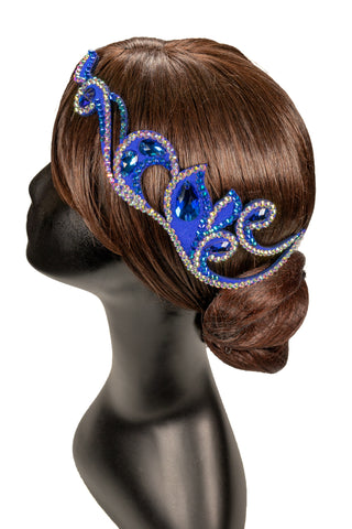 Blue Center Piece Teadrop Hair Piece - Where to Buy Dancewear SM Dance Fashion Competition Outfit Costume