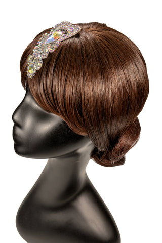White Flower Centered Hair Piece-Side View | SM Dance Fashion