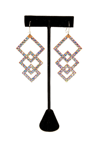 Diamond Frame Drop Earrings-Front View | SM Dance Fashion