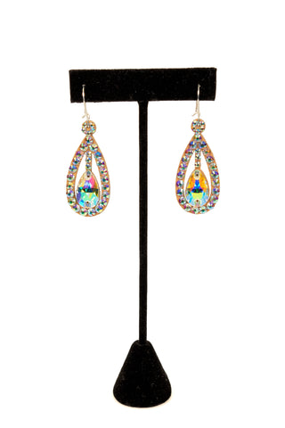 Teadrop Cubic Zrconia Earrings-Front View | SM Dance Fashion