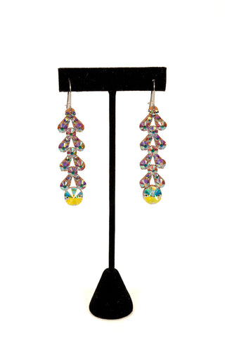 Leaf Shape Dangling Drop Earrings-Front View | SM Dance Fashion