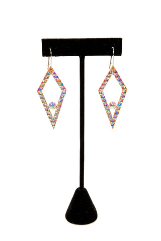 Long Diamond Shape Dangle Earrings-Front View | SM Dance Fashion