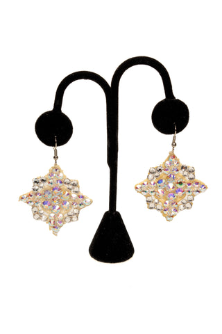 Polyhedron Crystal Earrings-Front View | SM Dance Fashion