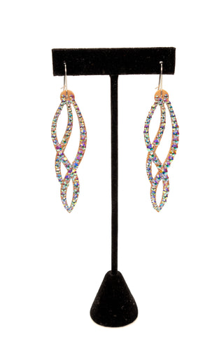 Twisted Drop Shaped Dangle Earrings-Front View | SM Dance Fashion