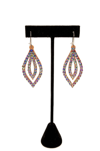 Thin Double Leaf Shape Dangle Earrings-Front View | SM Dance Fashion