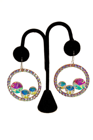 Three Stone Hoop Earrings-Front View | SM Dance Fashion