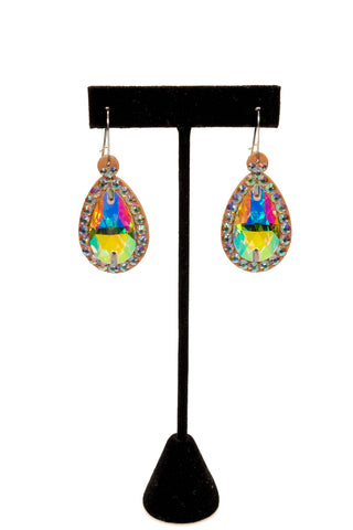 Teadrop Crystal Earrings-Front View | SM Dance Fashion