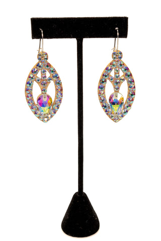 Rhinestone Oval Shape Dangle Earrings-Front View | SM Dance Fashion