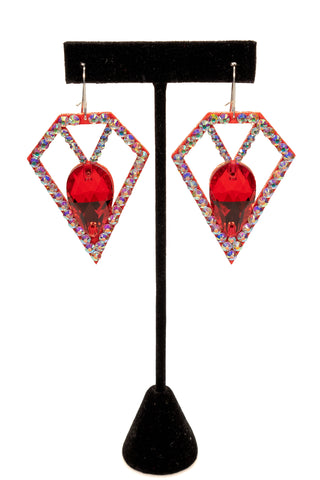 Geometric Diamond Earrings-Front View | SM Dance Fashion