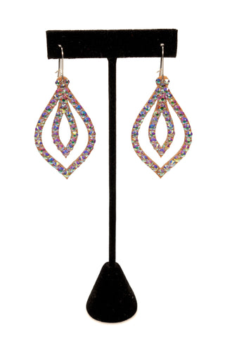 Double Leaf Shape Dangle Earrings-Front View | SM Dance Fashion