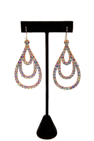 Open Triple Teadrop Earrings-Front View | SM Dance Fashion