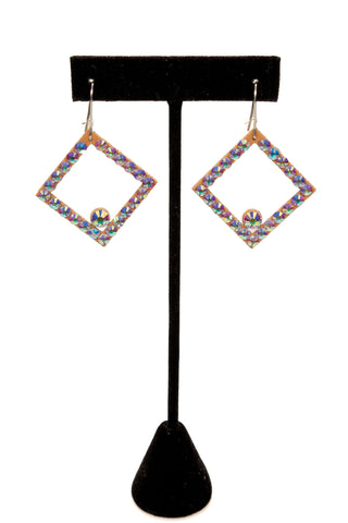Open Diamond Shape Dangle Earrings-Front View | SM Dance Fashion