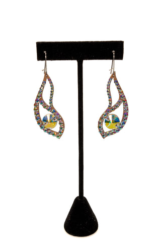 Rhinestone Double Drop Dangle Earrings-Front View | SM Dance Fashion