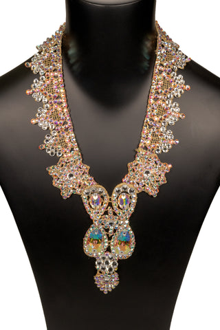 Dual Teadrop Crystallized Rosary Necklace-Front View | SM Dance Fashion