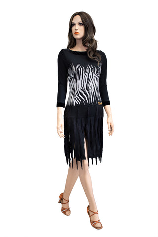 Zebra Print Fringe Latin & Rhythm Dress - Where to Buy Dancewear SM Dance Fashion Competition Outfit Costume