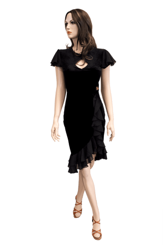 Black Velvet Latin & Rhythm Dress - Where to Buy Dancewear SM Dance Fashion Competition Outfit Costume