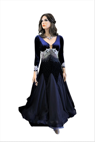 Dark Blue Ballroom Competition Dress - Where to Buy Dancewear SM Dance Fashion Competition Outfit Costume