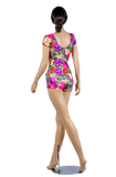 Floral Print Short Sleeve Body-Back View | SM Dance Fashion