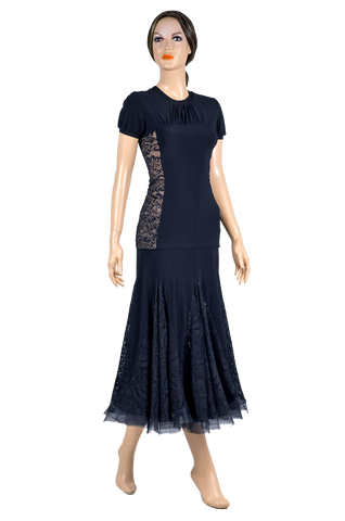 Side Lace Short Sleeve Blouse-Front View | SM Dance Fashion