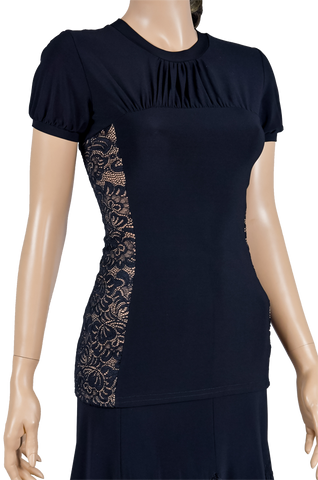 Side Lace Short Sleeve Blouse-Front Top View | SM Dance Fashion