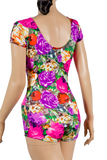 Floral Print Short Sleeve Body-Back Close-up View | SM Dance Fashion