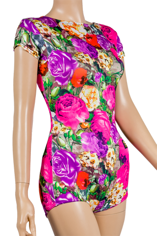 Floral Print Short Sleeve Body-Front Close-up View | SM Dance Fashion
