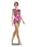 Floral Print Short Sleeve Body-Front View | SM Dance Fashion
