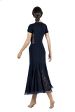 Cascading Flounce Mesh Ballroom & Smooth Skirt-Back View | SM Dance Fashion