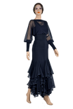 Cascading Flounce Mesh Ballroom & Smooth Skirt-Front View | SM Dance Fashion