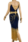 Blue & Gold Bodycon Competition Dress - Where to Buy Dancewear SM Dance Fashion Competition Outfit Costume