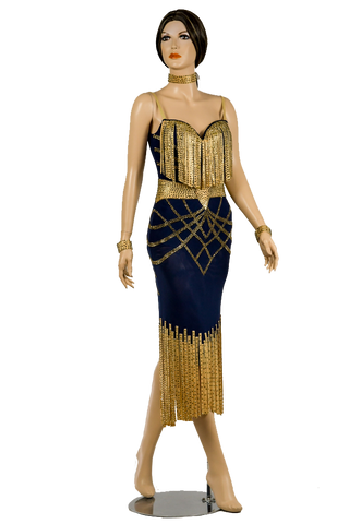 Blue & Gold Bodycon Competition Dress-Front View | SM Dance Fashion