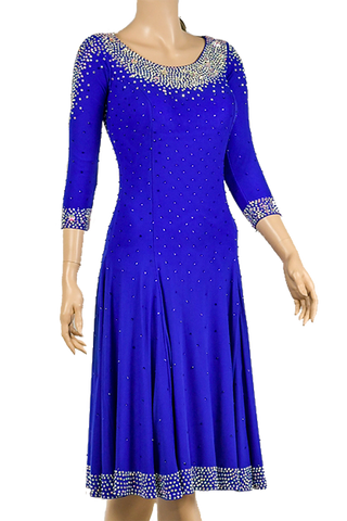 Blue Flounce Latin & Rhythm Competition Dress - Where to Buy Dancewear SM Dance Fashion Competition Outfit Costume