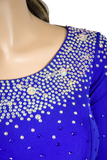 Blue Flounce Latin & Rhythm Competition Dress-Neck View | SM Dance Fashion