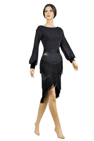 Cascading Fringe Exclusive Skirt-Front View | SM Dance Fashion