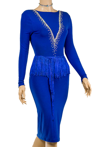 Blue Pencil Long Sleeve Latin & Rhythm Competition Dress-Front Close-up View | SM Dance Fashion