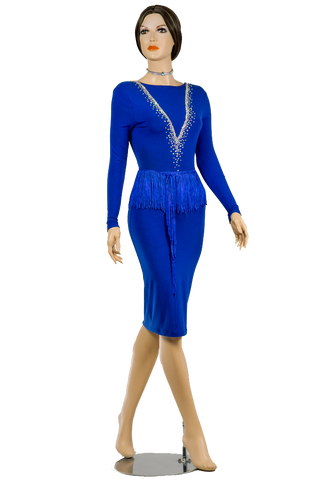 Blue Pencil Long Sleeve Latin & Rhythm Competition Dress - Where to Buy Dancewear SM Dance Fashion Competition Outfit Costume