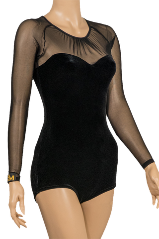 Semi-Sweetheart Velour Body Suit-Front Close-up View | SM Dance Fashion
