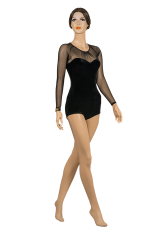 Semi-Sweetheart Velour Body Suit-Front View | SM Dance Fashion