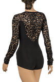 Long Sleeve Lace Bodysuit-Back Close-up View | SM Dance Fashion