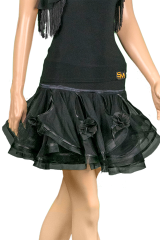 Mesh Flounce w/ Flower Keyhole Latin & Rythm Skirt - Where to Buy Dancewear SM Dance Fashion Competition Outfit Costume