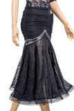 Rhinestone Ruched Stretch-Lace Ballroom & Smooth Skirt-Front Bottom View | SM Dance Fashion