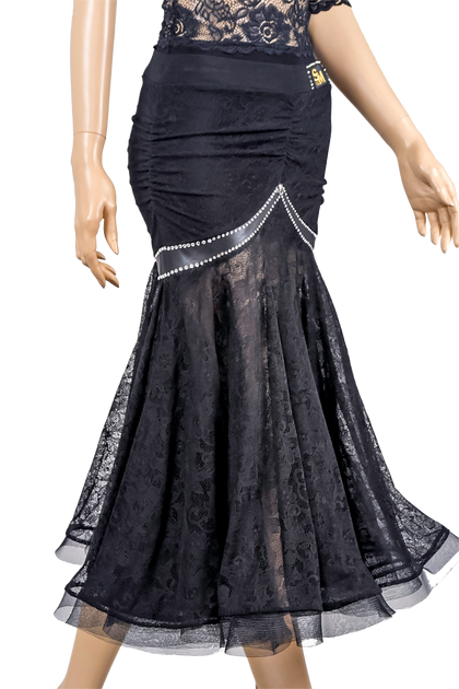 Rhinestone Ruched Stretch-Lace Ballroom & Smooth Skirt